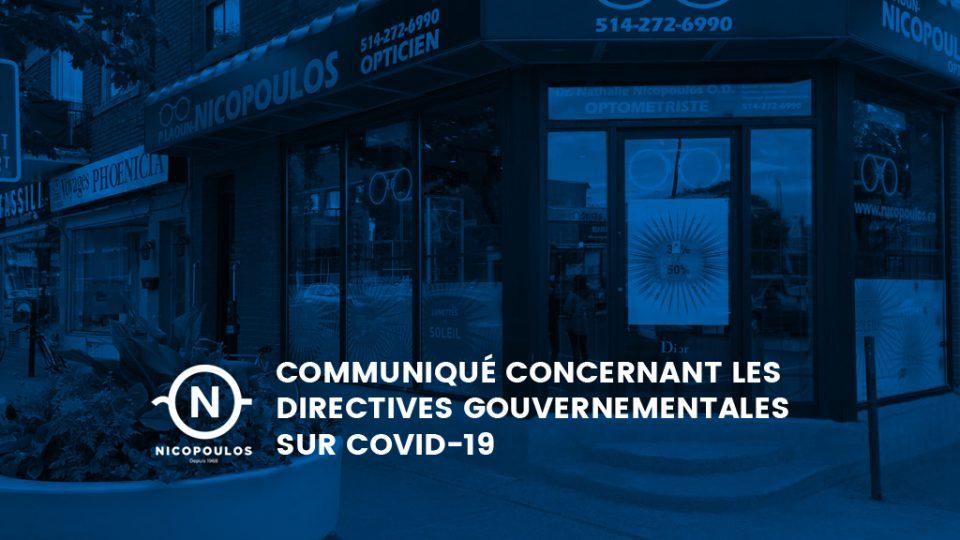 Communiqué concernant les directives gouvernementales sur covid-19